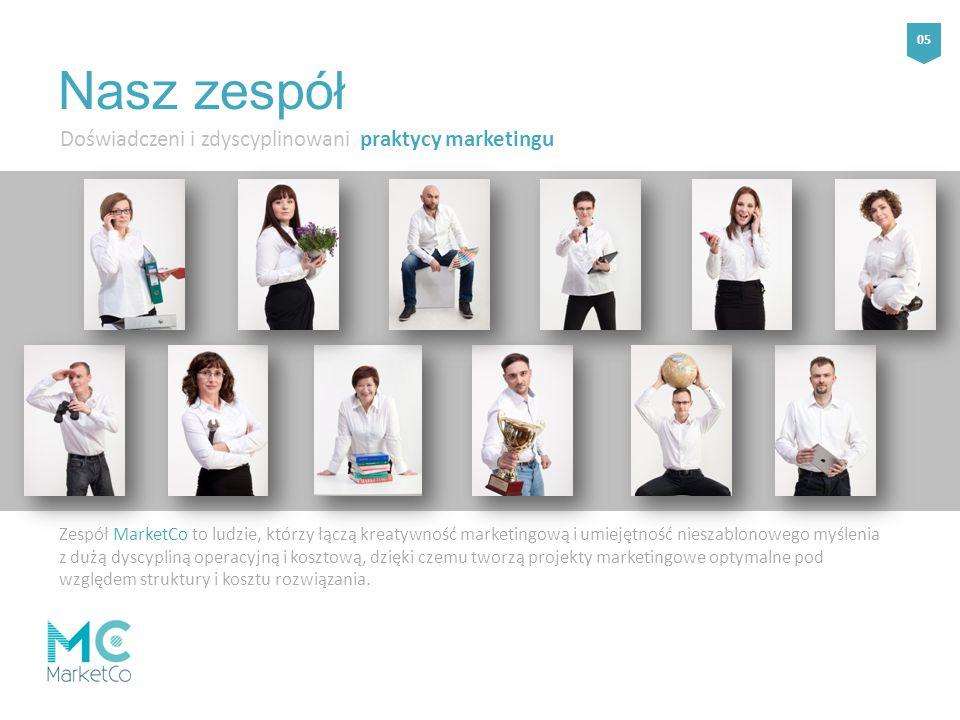 Doświadczeni i zdyscyplinowani praktycy marketingu Zespół MarketCo to ludzie, którzy łączą kreatywność marketingową i umiejętność nieszablonowego myślenia z dużą dyscypliną operacyjną i kosztową, dzięki czemu tworzą projekty marketingowe optymalne pod względem struktury i kosztu rozwiązania.