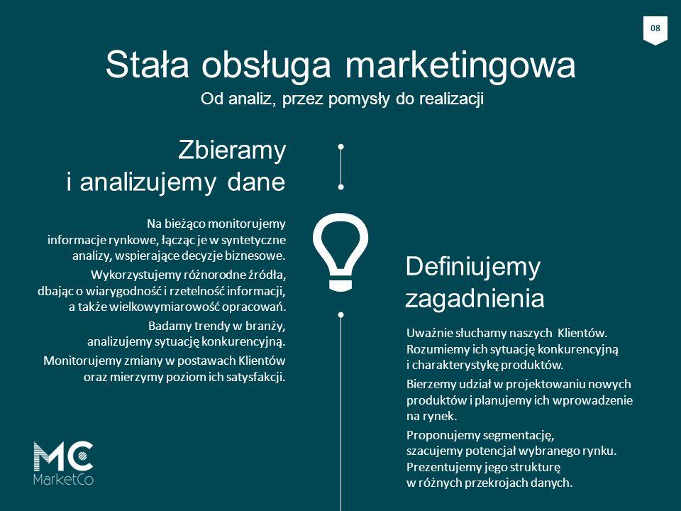 Stała obsługa marketingowa Od analiz, przez pomysły do realizacji Uważnie słuchamy naszych Klientów. Rozumiemy ich sytuację konkurencyjną i charaktery