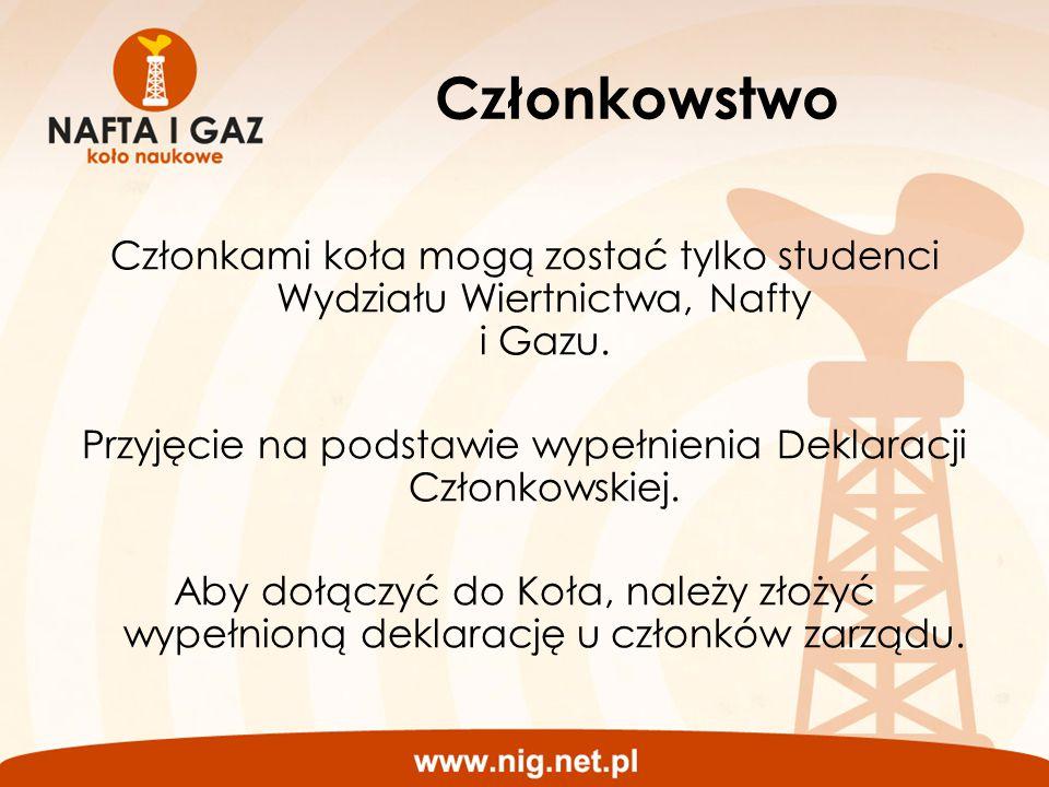 Członkowstwo Członkami koła mogą zostać tylko studenci Wydziału Wiertnictwa, Nafty i Gazu. Przyjęcie na podstawie wypełnienia Deklaracji Członkowskiej