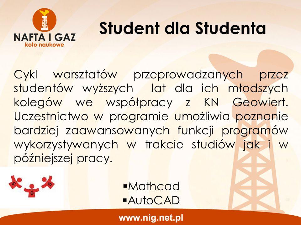 Student dla Studenta Cykl warsztatów przeprowadzanych przez studentów wyższych lat dla ich młodszych kolegów we współpracy z KN Geowiert. Uczestnictwo