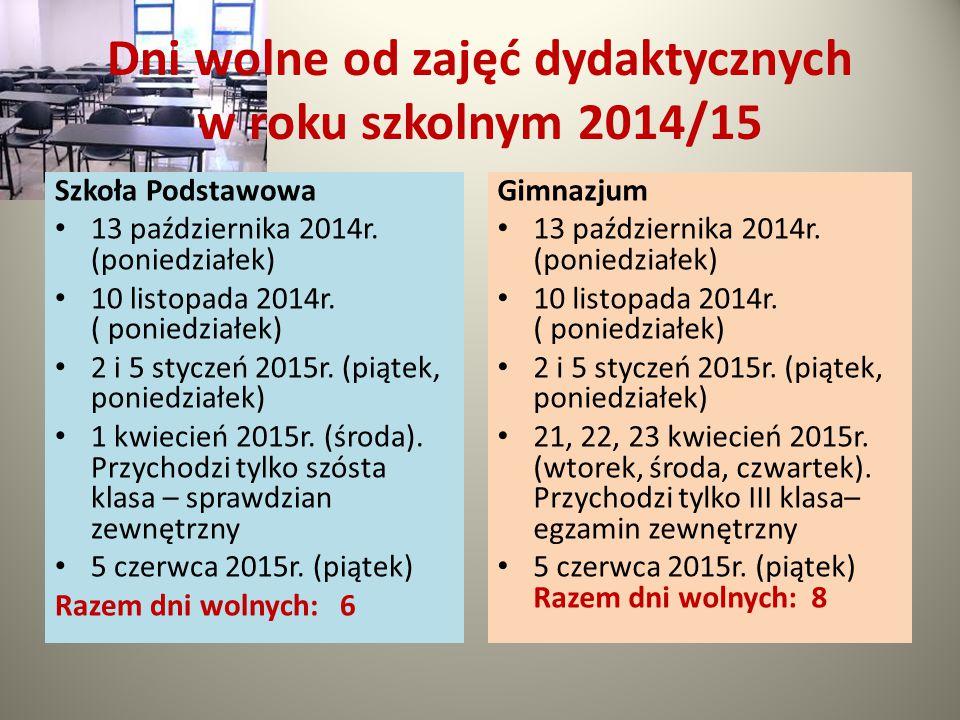 Dni wolne od zajęć dydaktycznych w roku szkolnym 2014/15 Szkoła Podstawowa 13 października 2014r. (poniedziałek) 10 listopada 2014r. ( poniedziałek) 2
