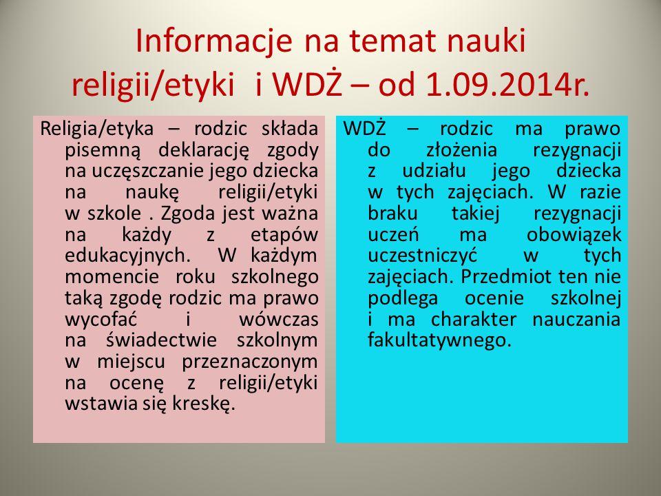 Informacje na temat nauki religii/etyki i WDŻ – od 1.09.2014r.