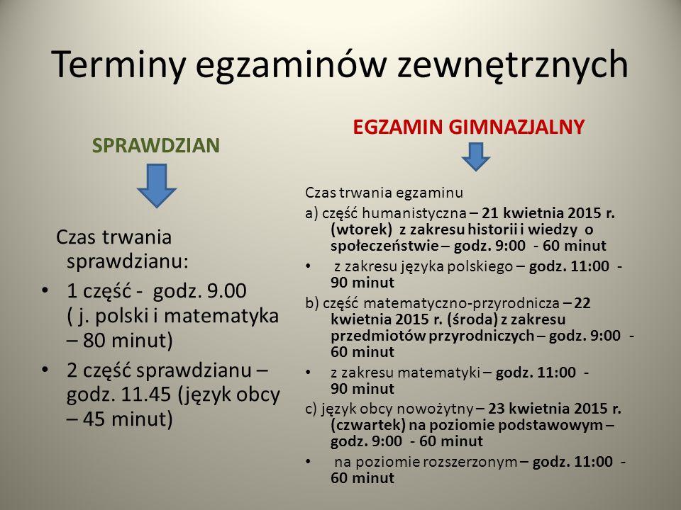 Terminy egzaminów zewnętrznych SPRAWDZIAN Czas trwania sprawdzianu: 1 część - godz. 9.00 ( j. polski i matematyka – 80 minut) 2 część sprawdzianu – go