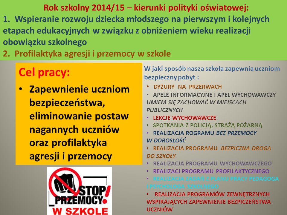 Rok szkolny 2014/15 – kierunki polityki oświatowej: 1.