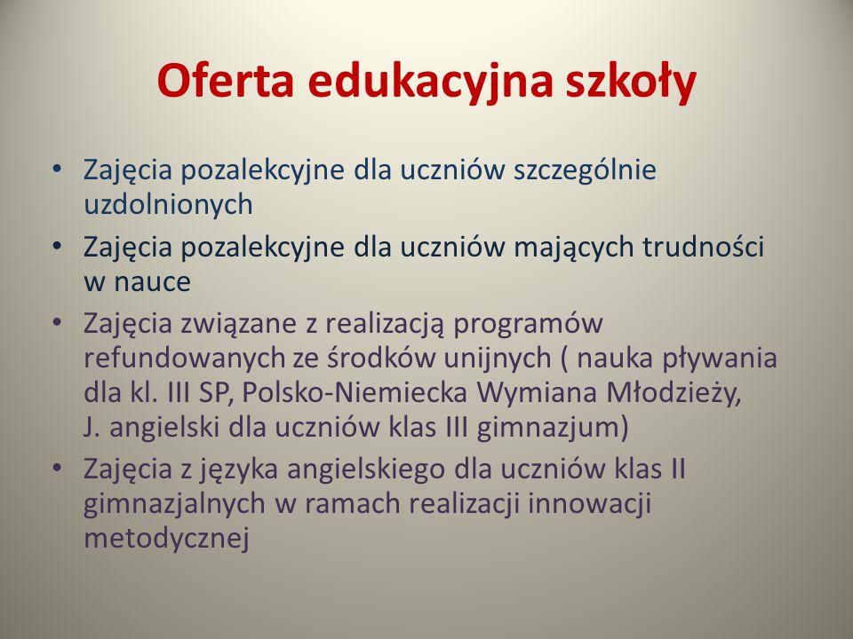 Oferta edukacyjna szkoły cd.