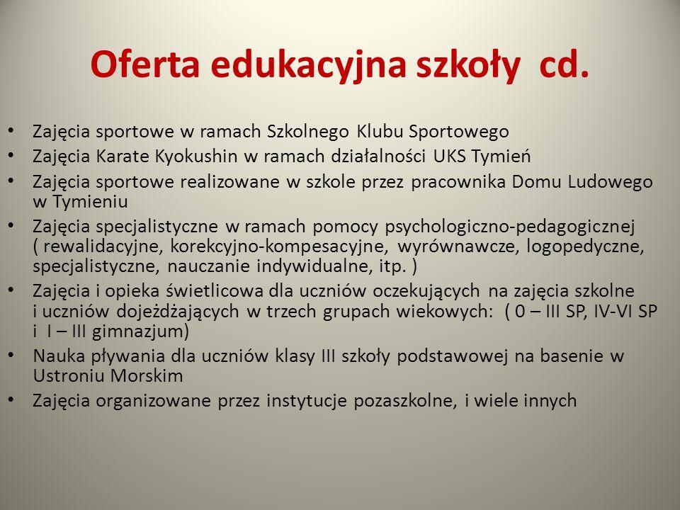 Oferta edukacyjna szkoły cd. Zajęcia sportowe w ramach Szkolnego Klubu Sportowego Zajęcia Karate Kyokushin w ramach działalności UKS Tymień Zajęcia sp