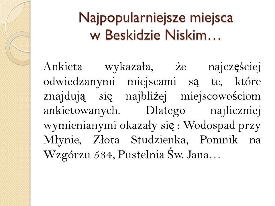 Najpopularniejsze miejsca w Beskidzie Niskim… Ankieta wykaza ł a, ż e najcz ęś ciej odwiedzanymi miejscami s ą te, które znajduj ą si ę najbli ż ej miejscowo ś ciom ankietowanych.