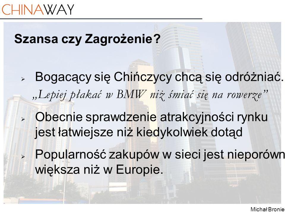 """Michał Broniek Szansa czy Zagrożenie ?  Bogacący się Chińczycy chcą się odróżniać. """"Lepiej płakać w BMW niż śmiać się na rowerze""""  Obecnie sprawdzen"""