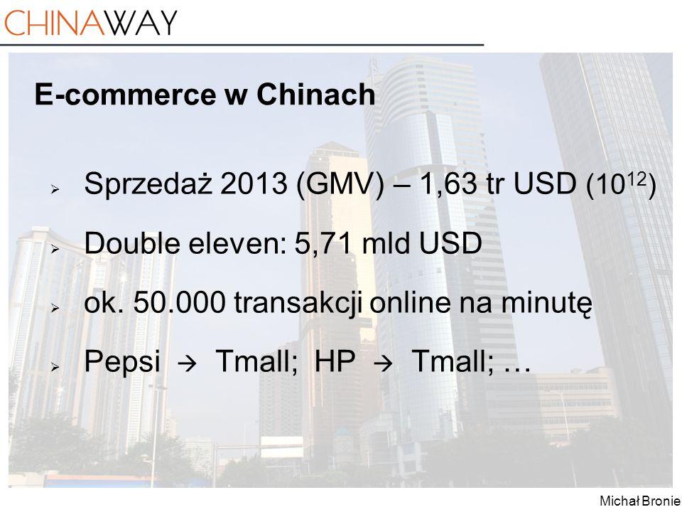 Michał Broniek E-commerce w Chinach  Sprzedaż 2013 (GMV) – 1,63 tr USD (10 12 )  Double eleven: 5,71 mld USD  ok. 50.000 transakcji online na minut