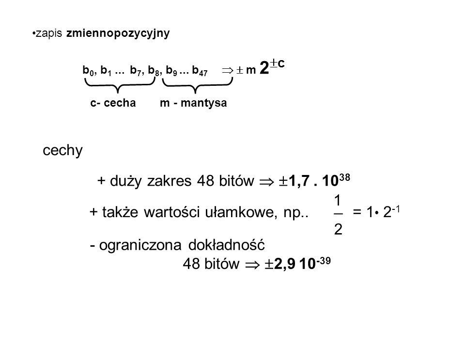 WARTOŚCI NUMERYCZNE - LICZBY zapis stałopozycyjny b 0, b 1, b 2, b 3....b 15 znak 0  0 1 < 0 wartość - zapis uzupełnieniowy do dwóch  0 b 1.2 14 +b