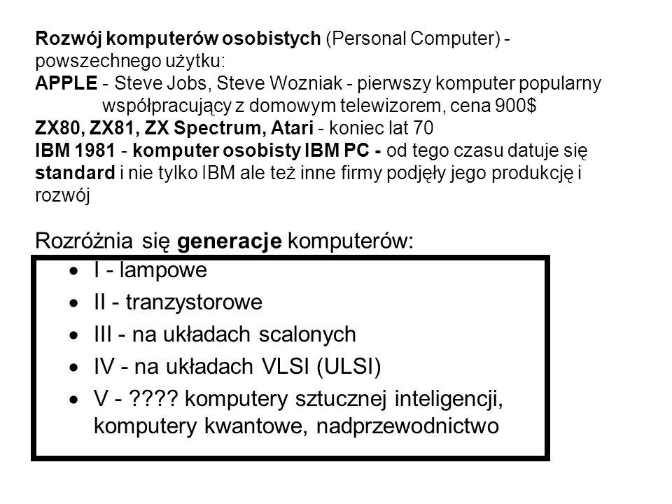 Historia komputera  abakus - liczydło mechaniczne - 5000 lat temu w Babilonie - rozpowszechnione w Chinach, Japonii, Rzymie, stosowane do dziś w Chin