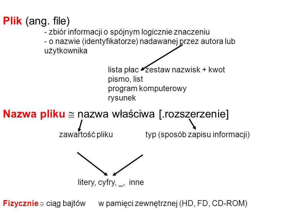 Prosta struktura systemu plików (file system) Pamięci zewnętrzne oznacza się literami z dwukropkiem niedogodność - duża liczba plików - nazwy nie mogą