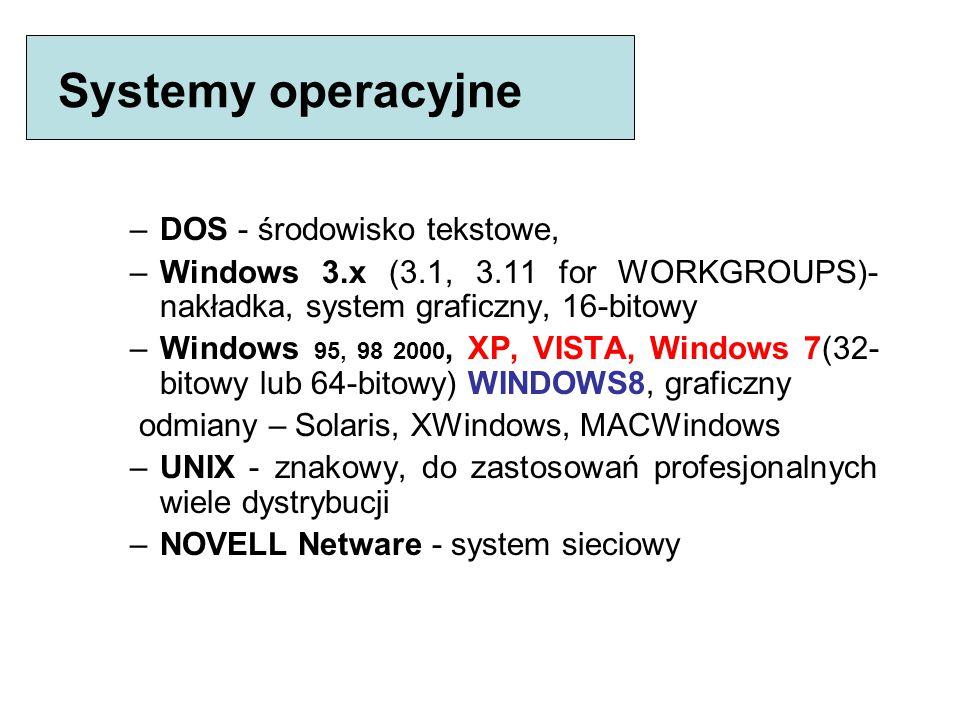 Struktura oprogramowania (software) Oprogramowanie systemowe: system operacyjny - zarządzanie zasobami komputera: - gospodarowanie czasem pracy komput