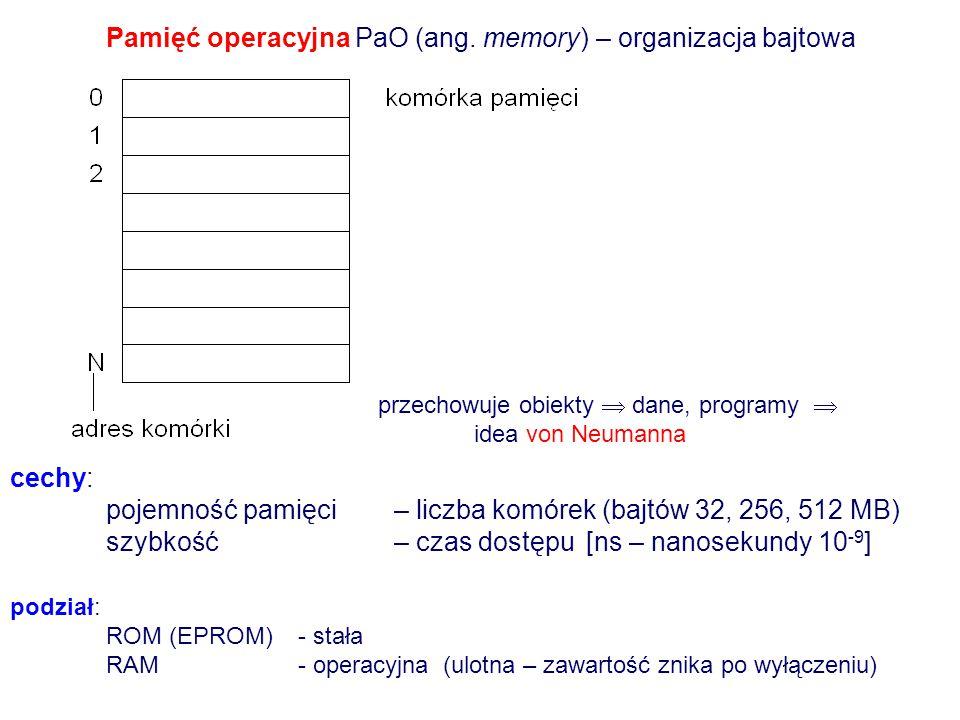Mikroprocesor ( chip, JAL, CPU Central Processing Unit) długość słowa komputerowego - 16, 24, 32, 64-bitowe szybkość przetwarzania- częstotliwość takt