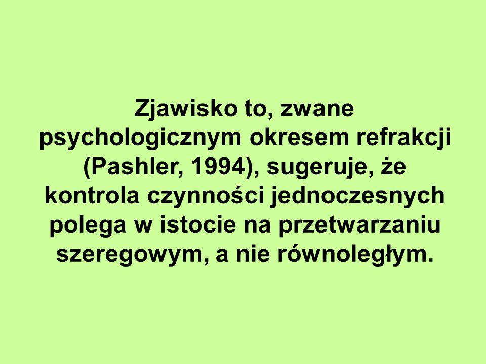 Zjawisko to, zwane psychologicznym okresem refrakcji (Pashler, 1994), sugeruje, że kontrola czynności jednoczesnych polega w istocie na przetwarzaniu szeregowym, a nie równoległym.
