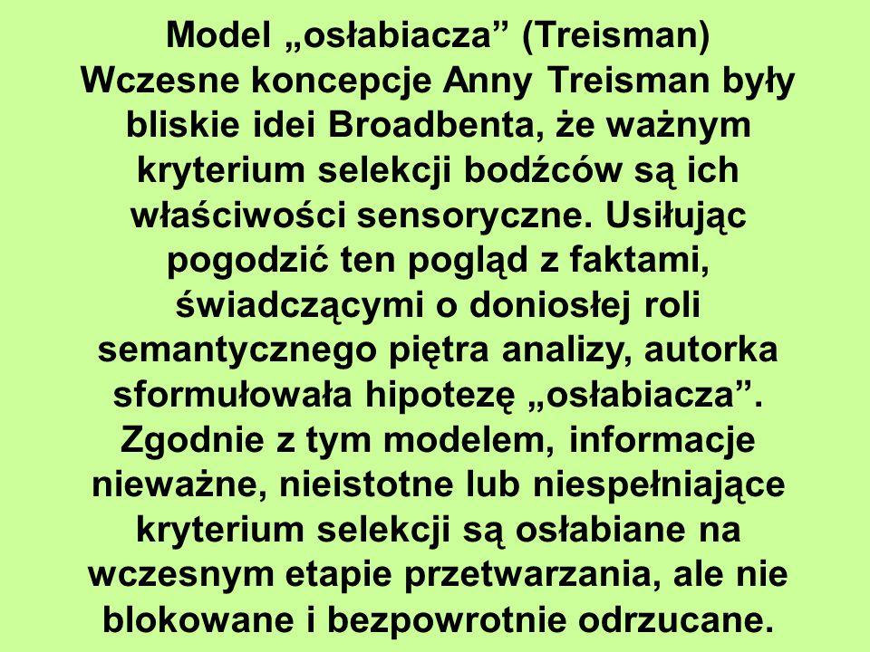 """Model """"osłabiacza (Treisman) Wczesne koncepcje Anny Treisman były bliskie idei Broadbenta, że ważnym kryterium selekcji bodźców są ich właściwości sensoryczne."""