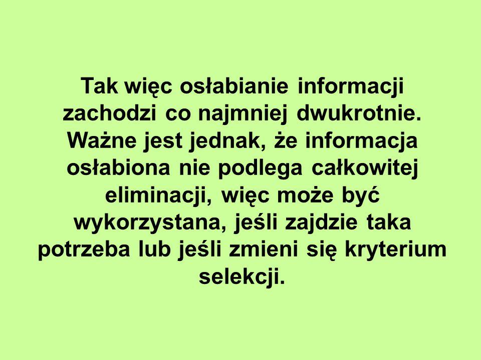 Tak więc osłabianie informacji zachodzi co najmniej dwukrotnie.