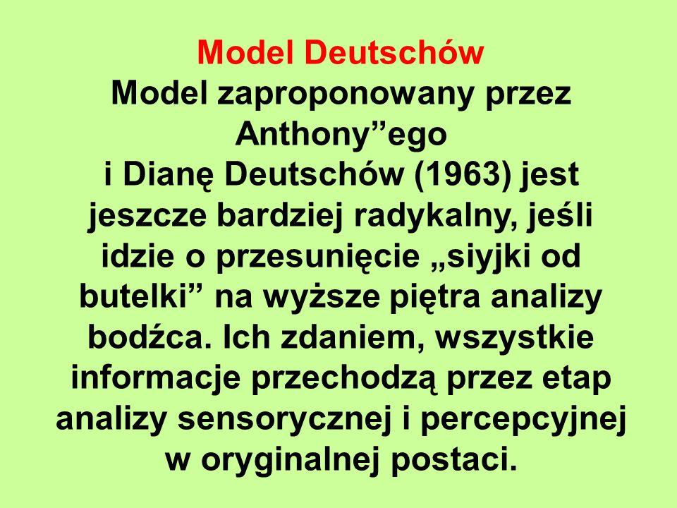 """Model Deutschów Model zaproponowany przez Anthony ego i Dianę Deutschów (1963) jest jeszcze bardziej radykalny, jeśli idzie o przesunięcie """"siyjki od butelki na wyższe piętra analizy bodźca."""