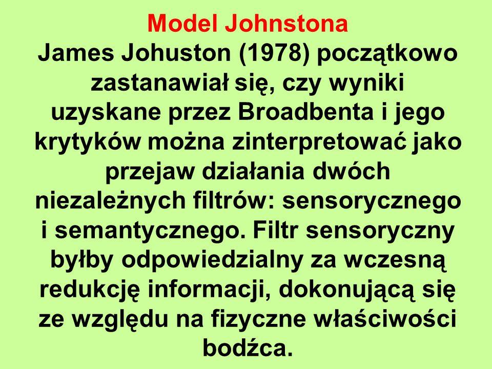 Model Johnstona James Johuston (1978) początkowo zastanawiał się, czy wyniki uzyskane przez Broadbenta i jego krytyków można zinterpretować jako przejaw działania dwóch niezależnych filtrów: sensorycznego i semantycznego.