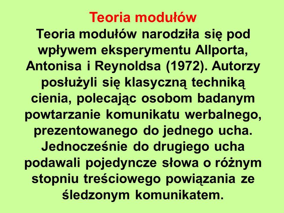 Teoria modułów Teoria modułów narodziła się pod wpływem eksperymentu Allporta, Antonisa i Reynoldsa (1972).