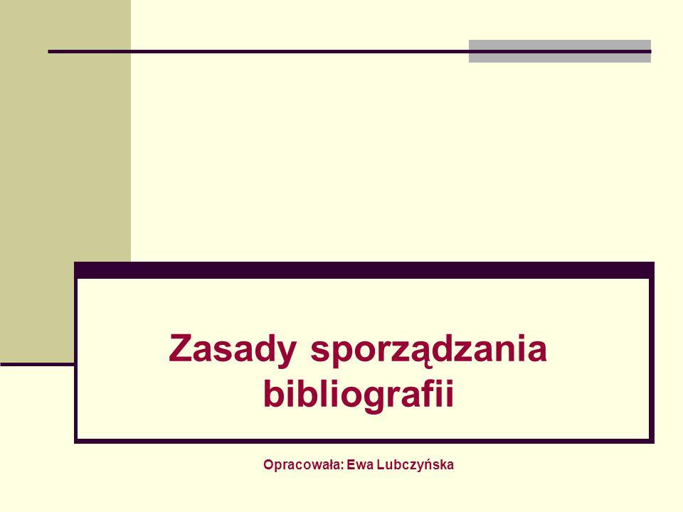 Bibliografia to uporządkowany spis dokumentów (książek, artykułów, dokumentów audiowizualnych) dobranych według pewnych kryteriów, spełniający określone zadania informacyjne.