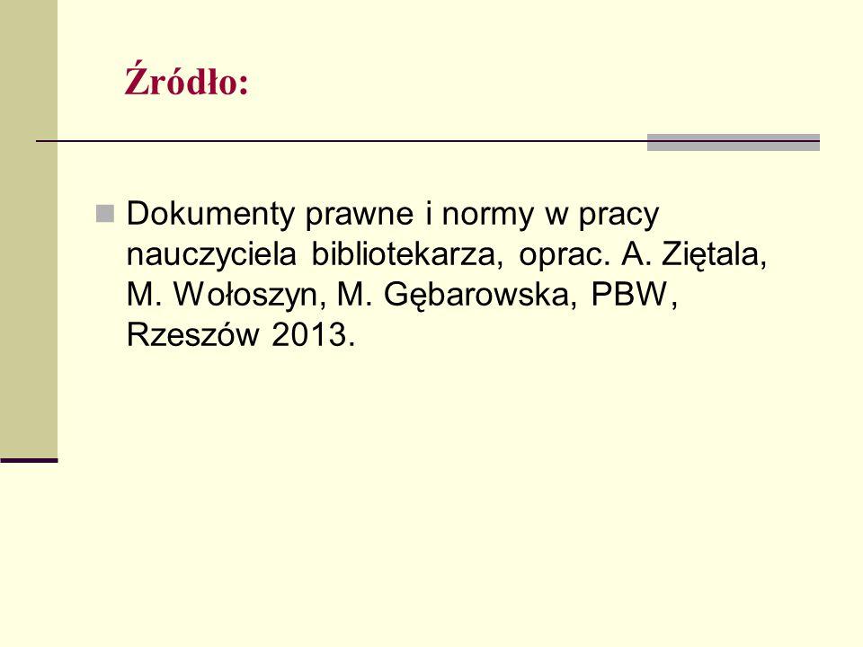 Źródło: Dokumenty prawne i normy w pracy nauczyciela bibliotekarza, oprac. A. Ziętala, M. Wołoszyn, M. Gębarowska, PBW, Rzeszów 2013.