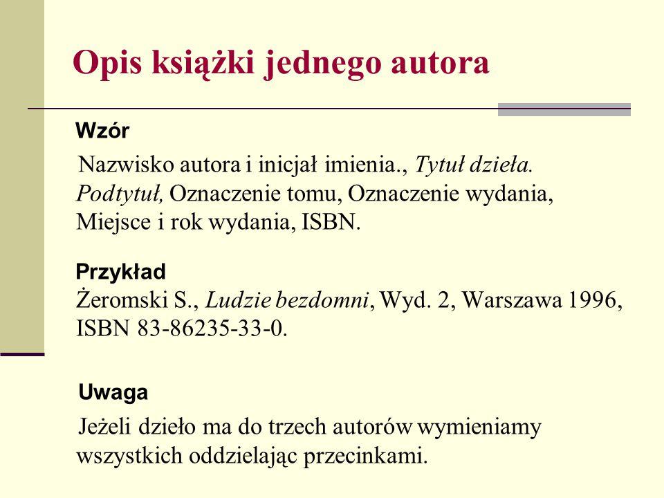 Opis książki wielu autorów Wzór Tytuł dzieła.