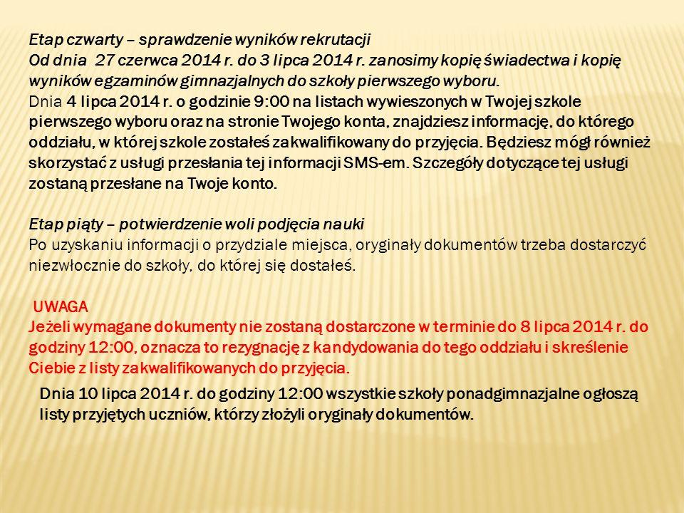 Etap czwarty – sprawdzenie wyników rekrutacji Od dnia 27 czerwca 2014 r.