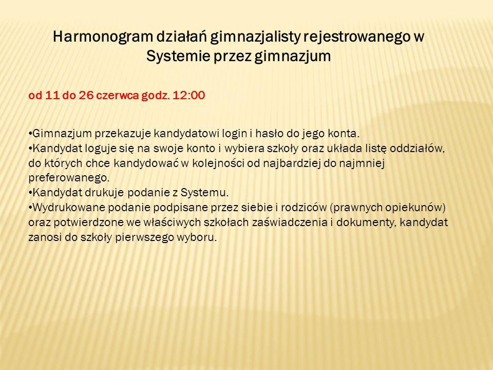 Harmonogram działań gimnazjalisty rejestrowanego w Systemie przez gimnazjum od 11 do 26 czerwca godz.