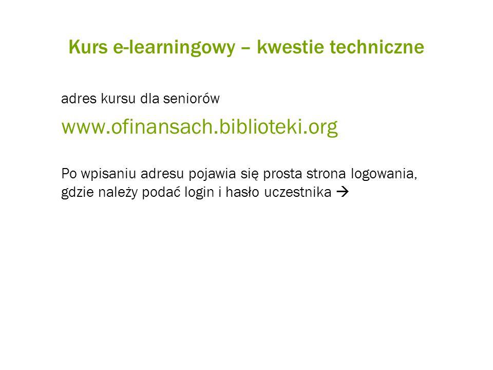 Kurs e-learningowy – kwestie techniczne adres kursu dla seniorów www.ofinansach.biblioteki.org Po wpisaniu adresu pojawia się prosta strona logowania,