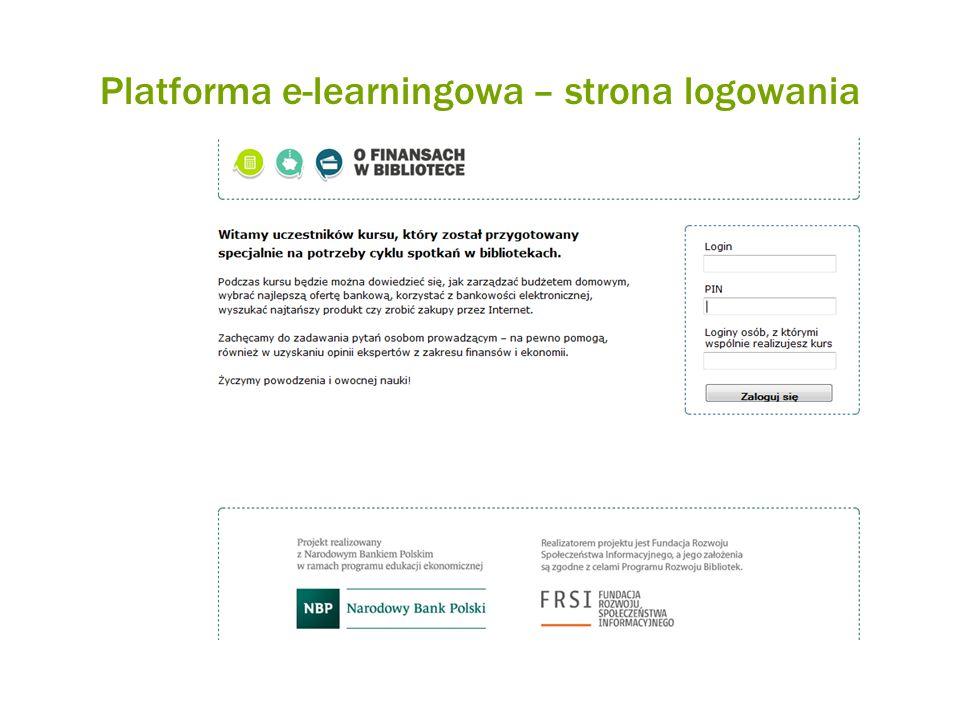 Platforma e-learningowa – strona logowania