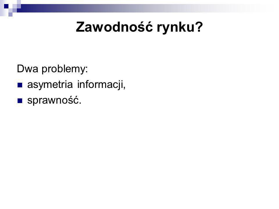 Dwa problemy: asymetria informacji, sprawność. Zawodność rynku?