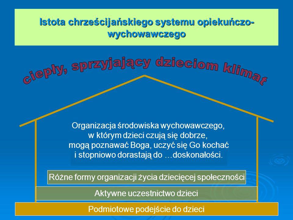 Istota chrześcijańskiego systemu opiekuńczo- wychowawczego Podmiotowe podejście do dzieci Organizacja środowiska wychowawczego, w którym dzieci czują