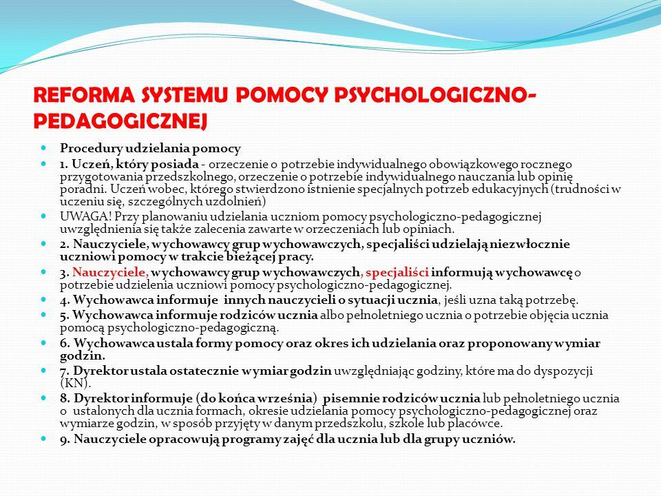 REFORMA SYSTEMU POMOCY PSYCHOLOGICZNO- PEDAGOGICZNEJ Procedury udzielania pomocy 1. Uczeń, który posiada - orzeczenie o potrzebie indywidualnego obowi