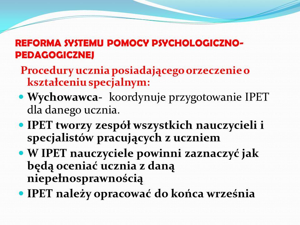 REFORMA SYSTEMU POMOCY PSYCHOLOGICZNO- PEDAGOGICZNEJ Procedury ucznia posiadającego orzeczenie o kształceniu specjalnym: Wychowawca- koordynuje przygo