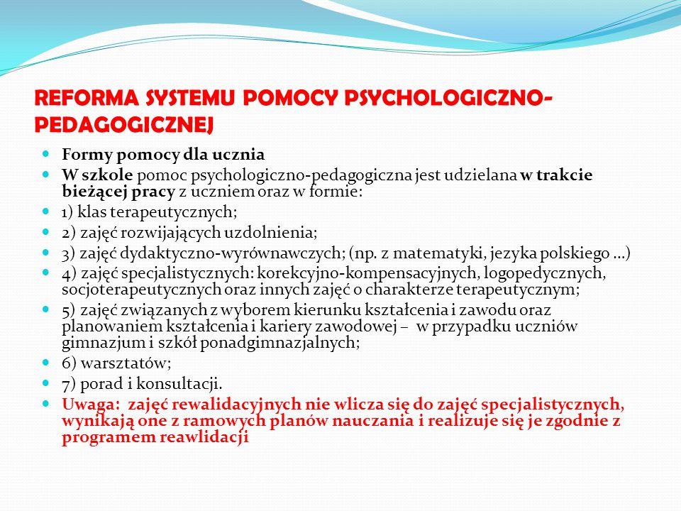 REFORMA SYSTEMU POMOCY PSYCHOLOGICZNO- PEDAGOGICZNEJ Formy pomocy dla ucznia W szkole pomoc psychologiczno-pedagogiczna jest udzielana w trakcie bieżą