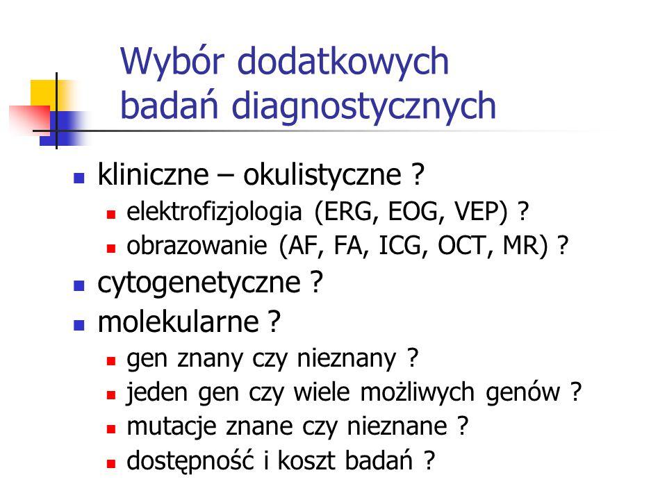 Wybór dodatkowych badań diagnostycznych kliniczne – okulistyczne ? elektrofizjologia (ERG, EOG, VEP) ? obrazowanie (AF, FA, ICG, OCT, MR) ? cytogenety