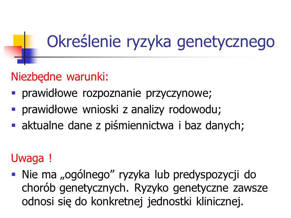 Określenie ryzyka genetycznego Niezbędne warunki:  prawidłowe rozpoznanie przyczynowe;  prawidłowe wnioski z analizy rodowodu;  aktualne dane z piśmiennictwa i baz danych; Uwaga .