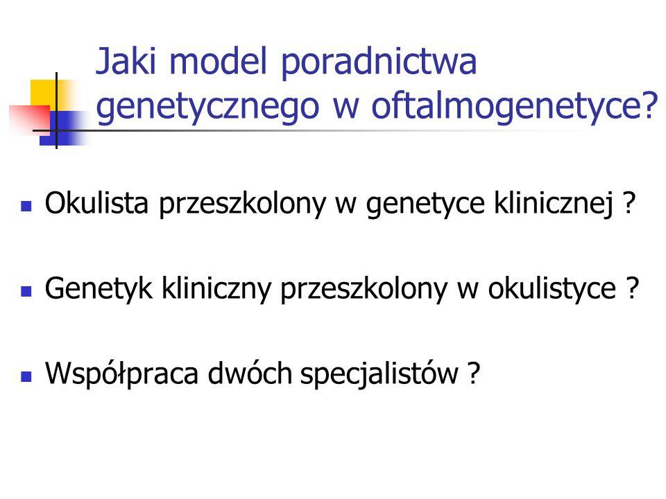 Jaki model poradnictwa genetycznego w oftalmogenetyce? Okulista przeszkolony w genetyce klinicznej ? Genetyk kliniczny przeszkolony w okulistyce ? Wsp