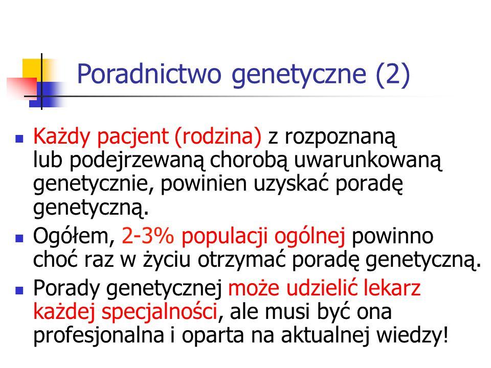 Każdy pacjent (rodzina) z rozpoznaną lub podejrzewaną chorobą uwarunkowaną genetycznie, powinien uzyskać poradę genetyczną. Ogółem, 2-3% populacji ogó