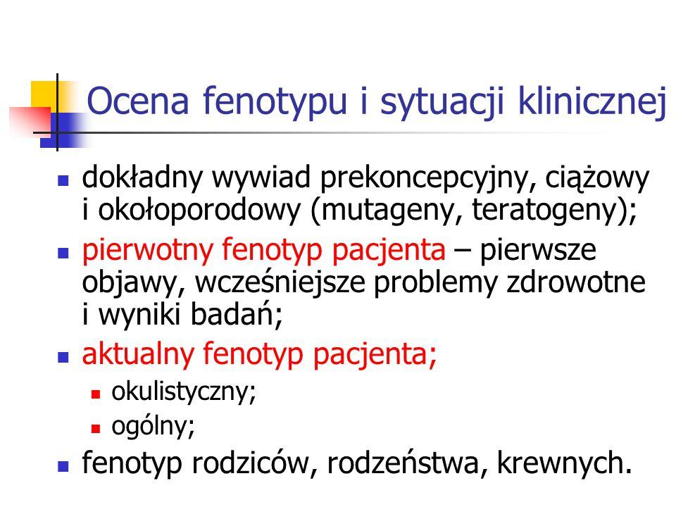 Ocena fenotypu i sytuacji klinicznej dokładny wywiad prekoncepcyjny, ciążowy i okołoporodowy (mutageny, teratogeny); pierwotny fenotyp pacjenta – pierwsze objawy, wcześniejsze problemy zdrowotne i wyniki badań; aktualny fenotyp pacjenta; okulistyczny; ogólny; fenotyp rodziców, rodzeństwa, krewnych.