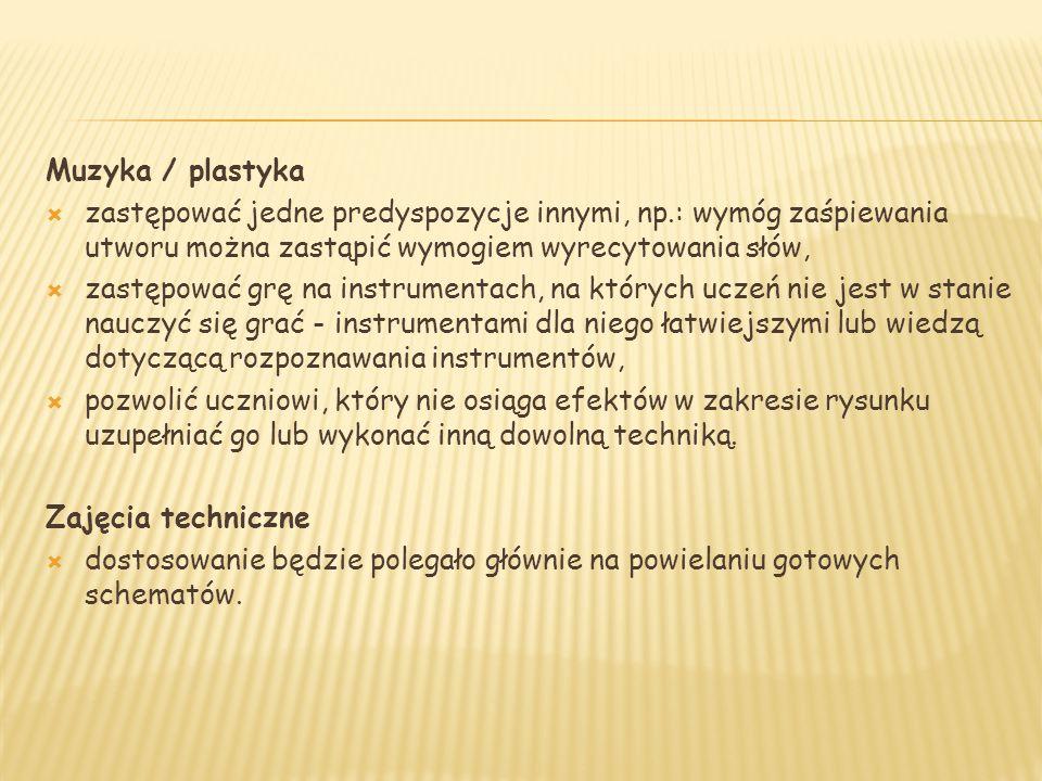 Muzyka / plastyka  zastępować jedne predyspozycje innymi, np.: wymóg zaśpiewania utworu można zastąpić wymogiem wyrecytowania słów,  zastępować grę