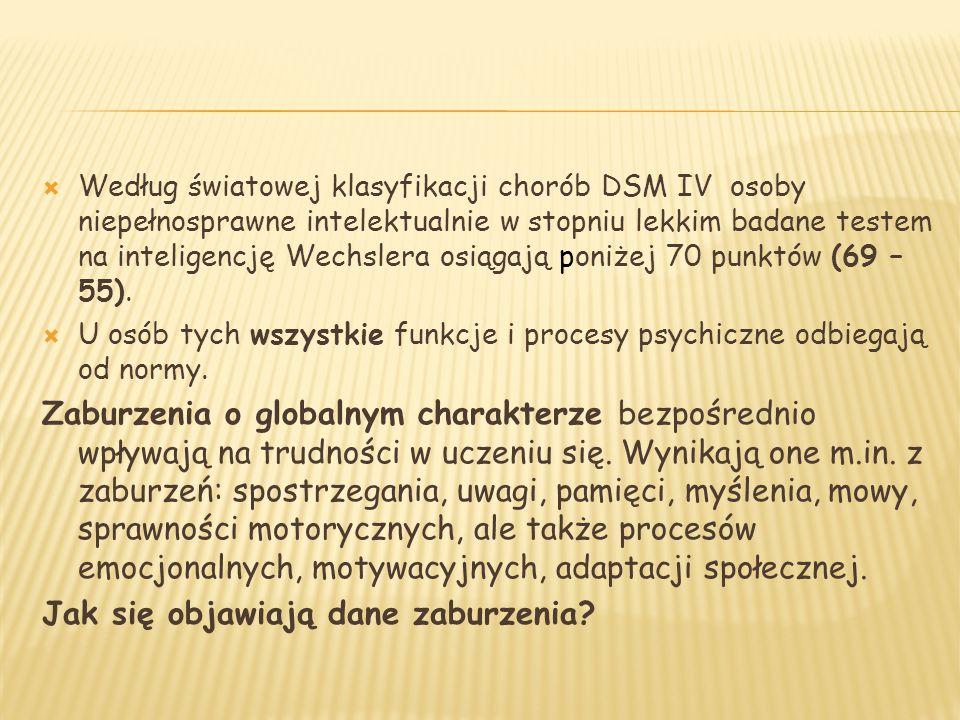  Według światowej klasyfikacji chorób DSM IV osoby niepełnosprawne intelektualnie w stopniu lekkim badane testem na inteligencję Wechslera osiągają p