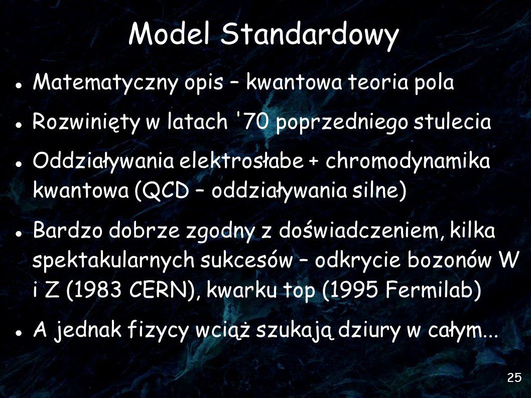 25 Model Standardowy Matematyczny opis – kwantowa teoria pola Rozwinięty w latach 70 poprzedniego stulecia Oddziaływania elektrosłabe + chromodynamika kwantowa (QCD – oddziaływania silne)  Bardzo dobrze zgodny z doświadczeniem, kilka spektakularnych sukcesów – odkrycie bozonów W i Z (1983 CERN), kwarku top (1995 Fermilab)  A jednak fizycy wciąż szukają dziury w całym...