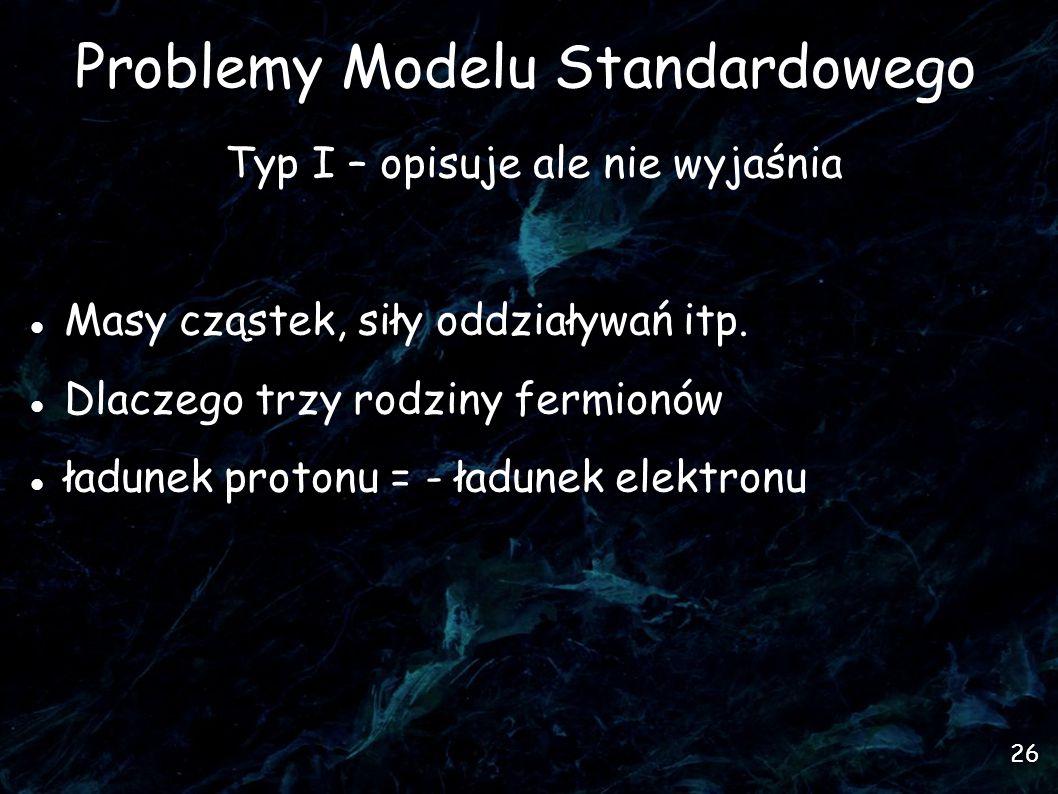 26 Problemy Modelu Standardowego Typ I – opisuje ale nie wyjaśnia Masy cząstek, siły oddziaływań itp.