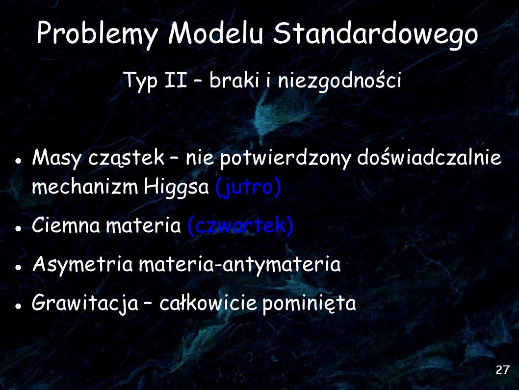 27 Problemy Modelu Standardowego Typ II – braki i niezgodności Masy cząstek – nie potwierdzony doświadczalnie mechanizm Higgsa (jutro)  Ciemna materia (czwartek)  Asymetria materia-antymateria Grawitacja – całkowicie pominięta