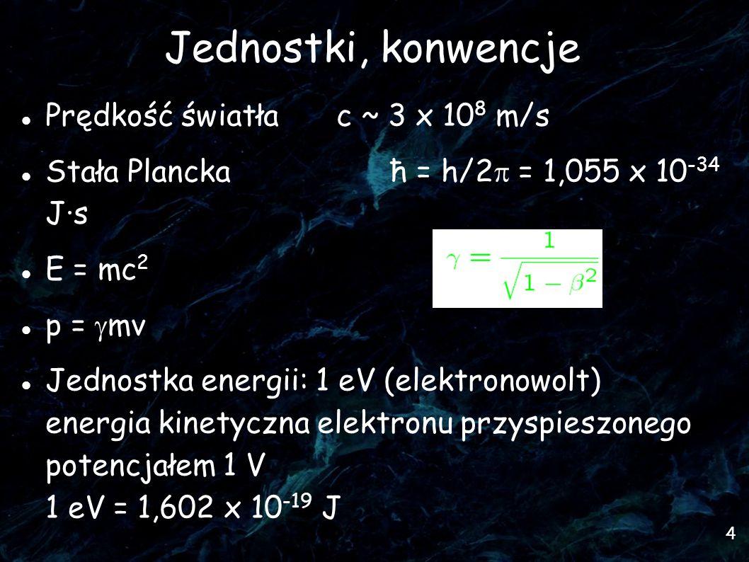 4 Jednostki, konwencje Prędkość światła c ~ 3 x 10 8 m/s Stała Planckaħ = h/2  = 1,055 x 10 -34 J·s E = mc 2 p =  mv Jednostka energii: 1 eV (elektronowolt) energia kinetyczna elektronu przyspieszonego potencjałem 1 V 1 eV = 1,602 x 10 -19 J