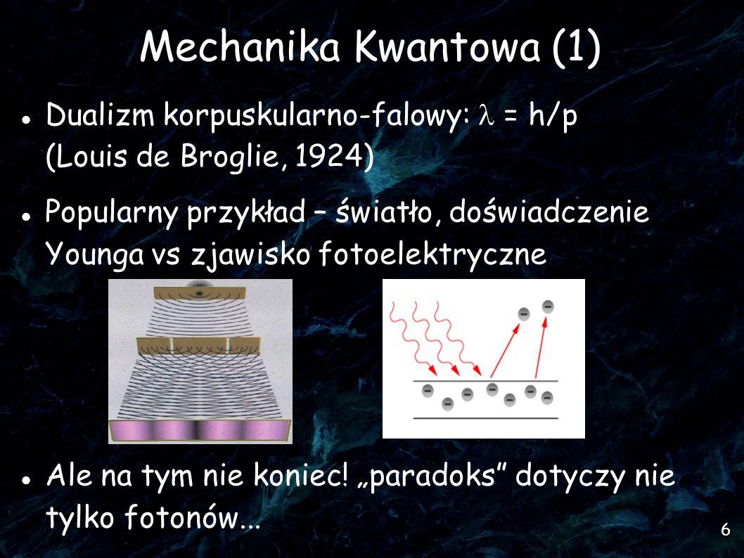 7 Elektrony jako fale 1927 r.- dyfrakcja elektronów na krysztale, C.