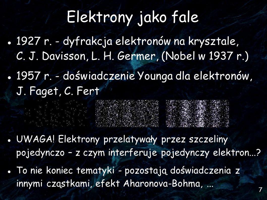 7 Elektrony jako fale 1927 r. - dyfrakcja elektronów na krysztale, C.
