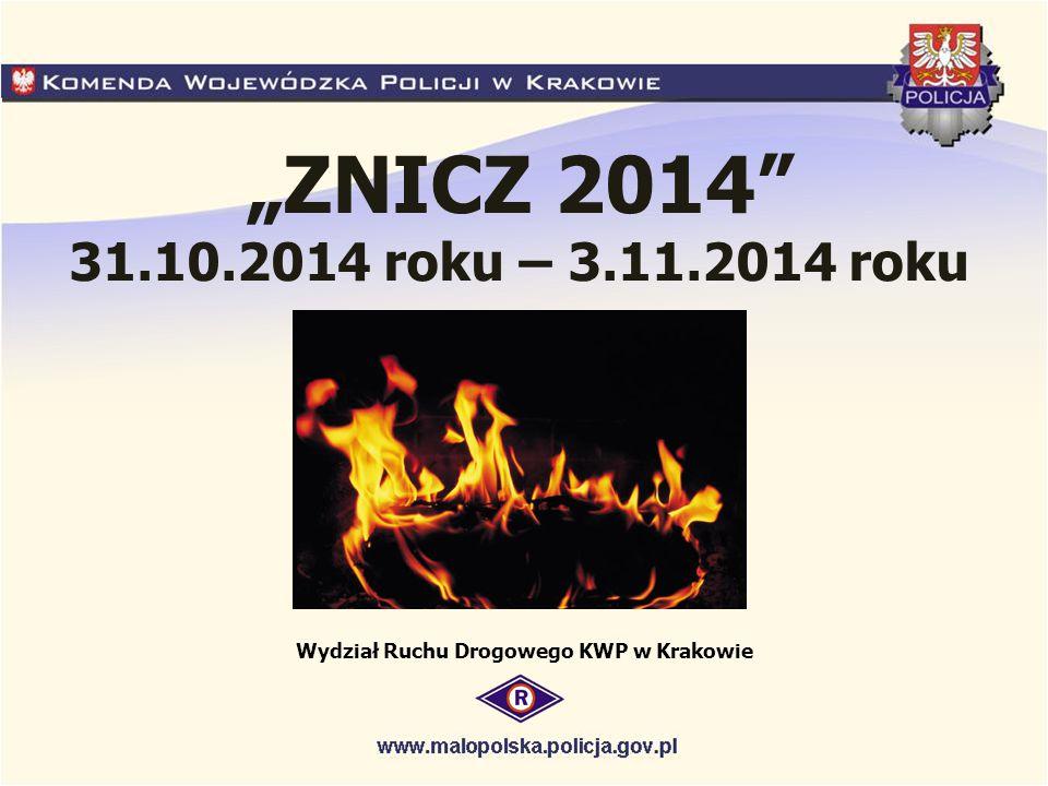 """""""ZNICZ 2014 31.10.2014 roku – 3.11.2014 roku Wydział Ruchu Drogowego KWP w Krakowie"""